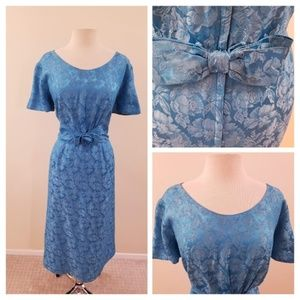 60's Pale Turquoise Vintage Brocade Wiggle Dress